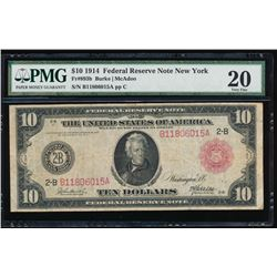 1914 $10 New York Red Seal Federal Reserve Note PMG 20