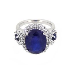 14KT White Gold 7.21ctw Sapphire and Diamond Ring