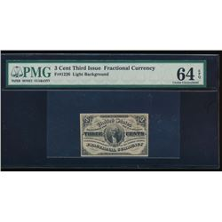 3 Cent Third Issue Fractional Note PMG 64EPQ No Serial Number