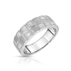 14KT White Gold 0.64ctw Diamond Wedding Band