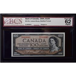 1954 $100 Bank of Canada Note