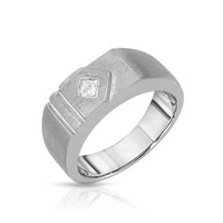 14KT White Gold 0.20ct Mens Diamond Wedding Band