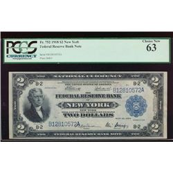 1918 $2 New York Federal Reserve Bank Note PCGS 63