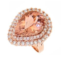 14KT Rose Gold 8.36ct Morganite and Diamond Ring