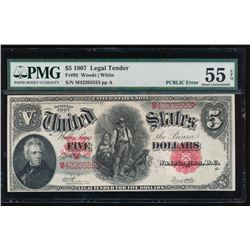 1907 $5 Legal Tender Note PCBLIC Error PMG 55EPQ