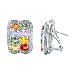 14KT White Gold 9.57ctw Multi Color Sapphire and Diamond Earrings