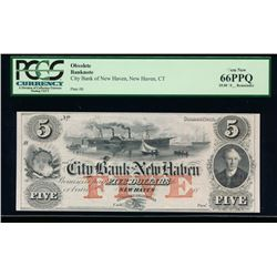 1800 $5 New Haven Obsolete Bank Note PCGS 66PPQ