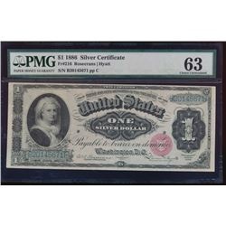 1866 $1 Martha Washington Silver Certificate PMG 63