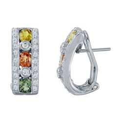 14KT White Gold 1.79ctw Multi Color Sapphire and Diamond Earrings