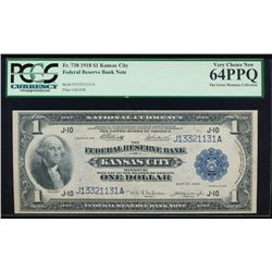 1918 $1 Large Kansas City Federal Reserve Note PCGS 64PPQ