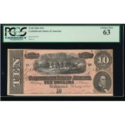 1864 $10 Confederate States of America Note PCGS 63