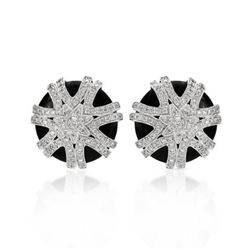 14KT White Gold 15.54ctw Onyx and Diamond Earrings