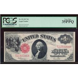 1917 $1 Legal Tender Note PCGS 35PPQ