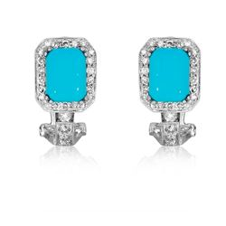 14KT White Gold 2.83ctw Turquoise and Diamond Earrings