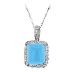 14KT White Gold 6.89ct Turquoise and Diamond Pendant with Chain