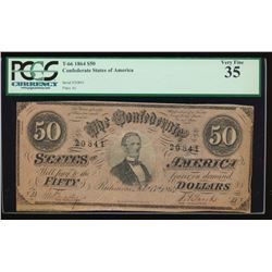 1864 $50 Confederate States of America Note PCGS 35