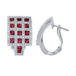 18KT White Gold 2.44ctw Ruby and Diamond Earrings