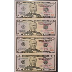 2006 (4) $50 Uncut Sheet of Cleveland Federal Reserve Notes