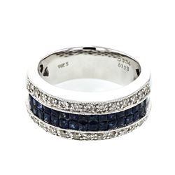 14KT White Gold 1.13ctw Blue Sapphire and Diamond Ring