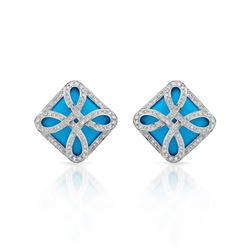 14KT White Gold 15.14ctw Turquoise and Diamond Earrings