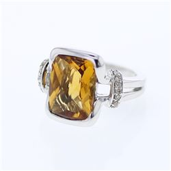 14KT White Gold 6.20ct Citrine and Diamond Ring