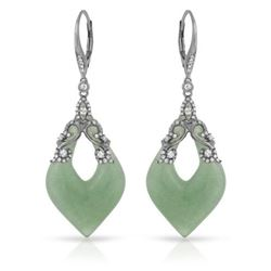14KT White Gold 36.90ctw Aventurine and Diamond Earrings