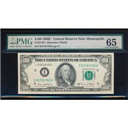 1969C $100 Minneapolis Federal Reserve Note PMG 65