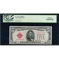 1928B $5 Legal Tender Note PCGS 63PPQ