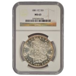 1881-CC $1 Morgan Silver Dollar Coin NGC MS63