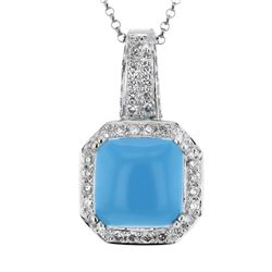 14KT White Gold 5.96ct Turquoise and Diamond Pendant with Chain