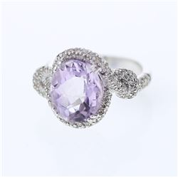 14KT White Gold 4.98ct Amethyst and Diamond Ring