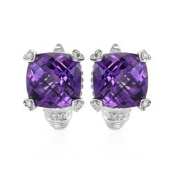 14KT White Gold 14.81ctw Amethyst and Diamond Earrings