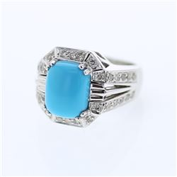 14KT White Gold 3.03ct Turquoise and Diamond Ring