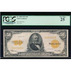 1922 $50 Gold Certificate PCGS 25