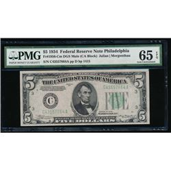 1934 $5 Philadelphia Federal Reserve Note PMG 65EPQ