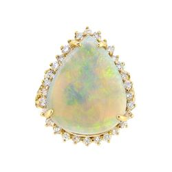 14KT Yellow Gold 6.54ct Opal and Diamond Ring