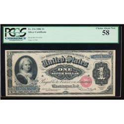 1886 $1 Martha Washington Silver Certificate PCGS 58
