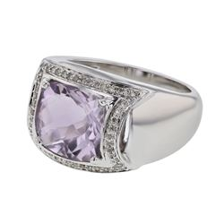 14KT White Gold 3.93ct Amethyst and Diamond Ring