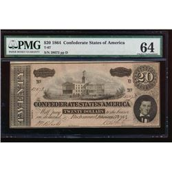 1864 $20 Confederate States of America Note PMG 64