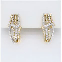 18KT Two Tone Gold 0.85ctw Diamond Earrings
