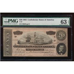 1864 $20 Confederate States of America Note PMG 63EPQ