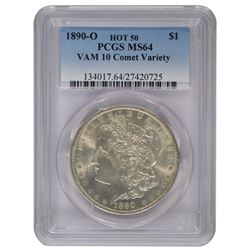 1890-O $1 Morgan Silver Dollar Coin PCGS MS64 VAM 10