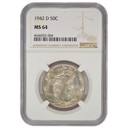 1942-D Walking Liberty Half Dollar Coin NGC MS64