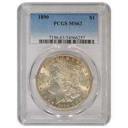1890 $1 Morgan Silver Dollar Coin PCGS MS63