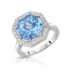 18KT White Gold 5.70ct Blue Topaz and Diamond Ring