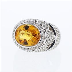 14KT White Gold 7.01ct Citrine and Diamond Ring