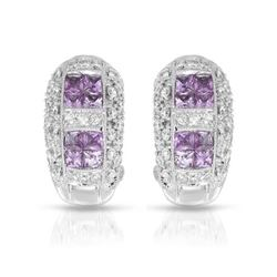 18KT White Gold 0.55ctw Pink Sapphire and Diamond Earrings