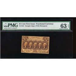 25 Cent First Issue Fractional Note PMG 63EPQ No Serial Number