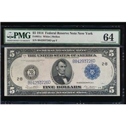 1914 $5 New York Federal Reserve Note PMG 64