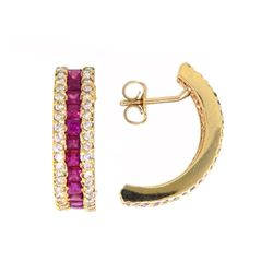 14KT Yellow Gold 1.83ctw Ruby and Diamond Earrings